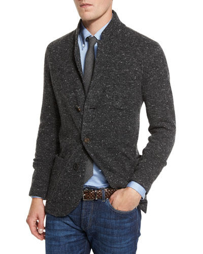 Donegal Three-Button Cardigan Jacket, Anthracite