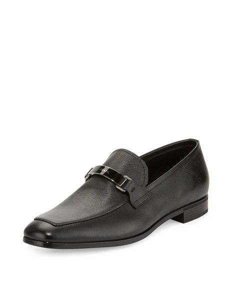 Prada Saffiano Leather Bit Loafer, Black