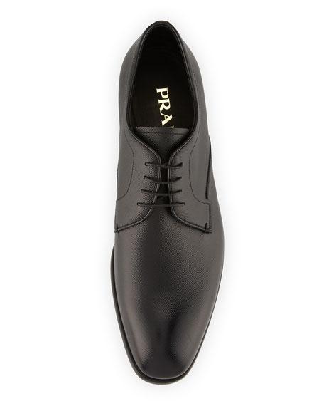 Saffiano Leather Lace-Up Oxford, Black
