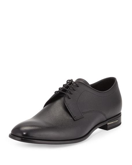 Prada Saffiano Leather Lace-Up Oxford, Black