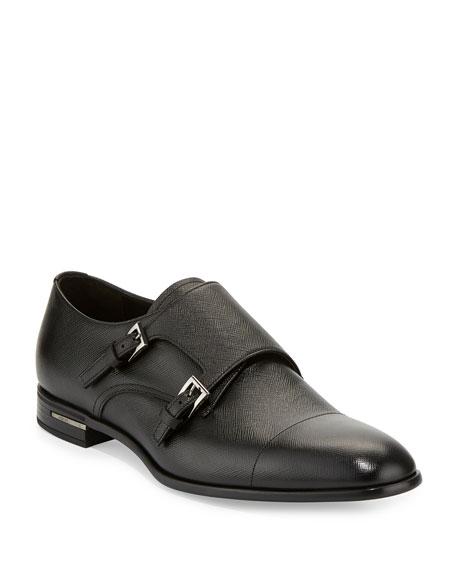 Prada Saffiano Leather Double-Monk Shoe, Black