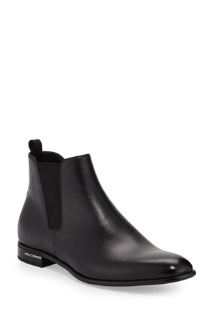 Prada Saffiano Leather Chelsea Boots, Black