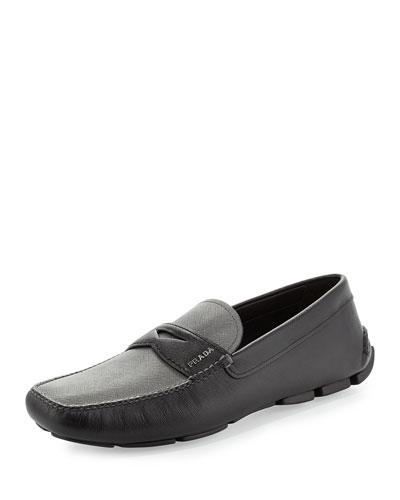 Bicolor Saffiano Leather Penny Driver, Black/Gray