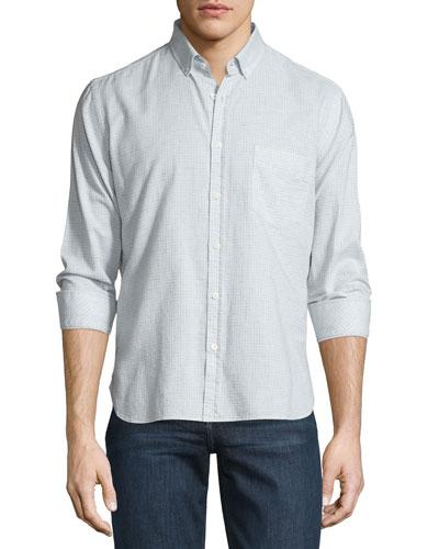 Check Long-Sleeve Sport Shirt, Light Blue