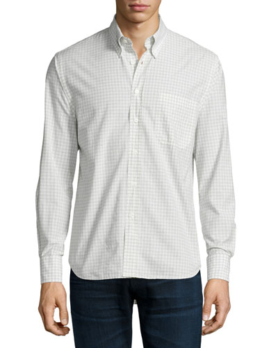 Woven Check Oxford Shirt, White Pattern