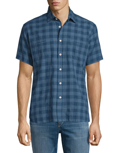 Plaid Short-Sleeve Linen-Blend Shirt, Navy