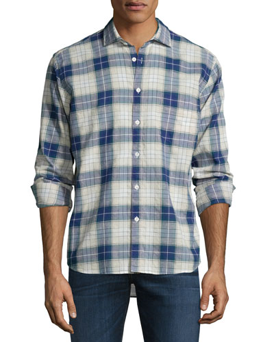 John Plaid Long-Sleeve Sport Shirt, Blue