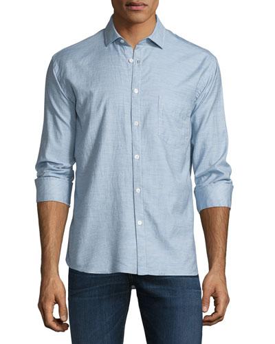 John Solid Long-Sleeve Sport Shirt, Light Blue
