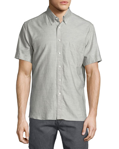 Solid Short-Sleeve Shirt, Gray