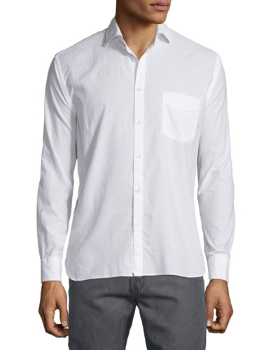 Tonal Dobby-Print Long-Sleeve Sport Shirt, White