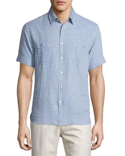 Textured Short-Sleeve Shirt, Blue