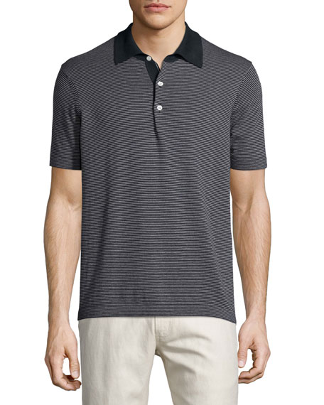Billy Reid Striped Short-Sleeve Pique Polo Shirt, Navy