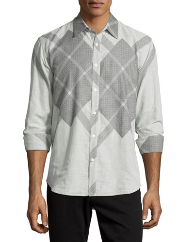 Argyle-Print Long-Sleeve Sport Shirt, Black/Gray
