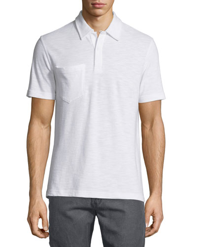 Solid Short-Sleeve Pique Polo Shirt, White