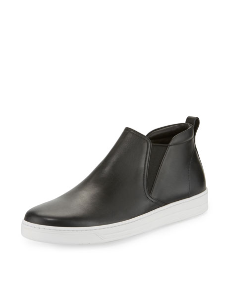 Prada Leather Chelsea Sneaker, Black