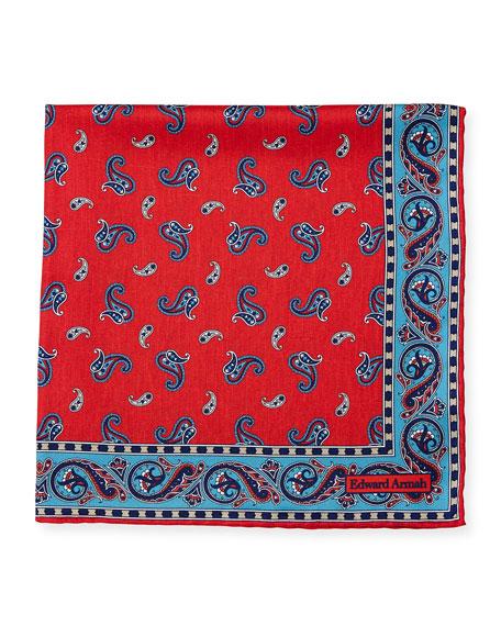 Paisley-Print Silk Pocket Square, Red