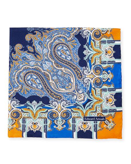 Edward Armah Scarf-Paisley Print Silk Pocket Square, Navy