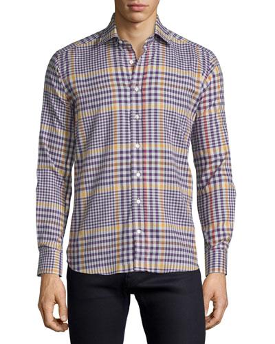 Plaid Flannel Long-Sleeve Sport Shirt, Multi