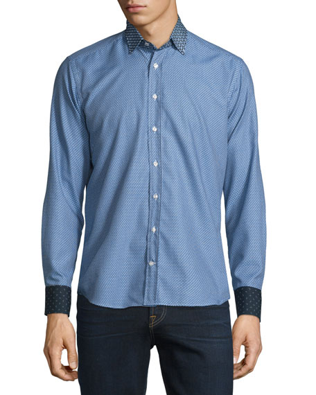 Etro Micro-Print Long-Sleeve Sport Shirt w/Contrast Details, Blue