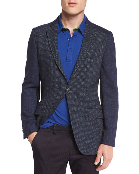 Etro patchwork mixed woven sport coat navy paisley trim for Polo shirt with sport coat
