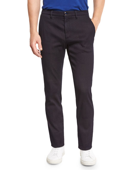 Etro Tonal Patchwork Pants, Navy