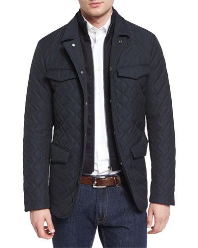Quilted Two-Layer Field Jacket, Navy
