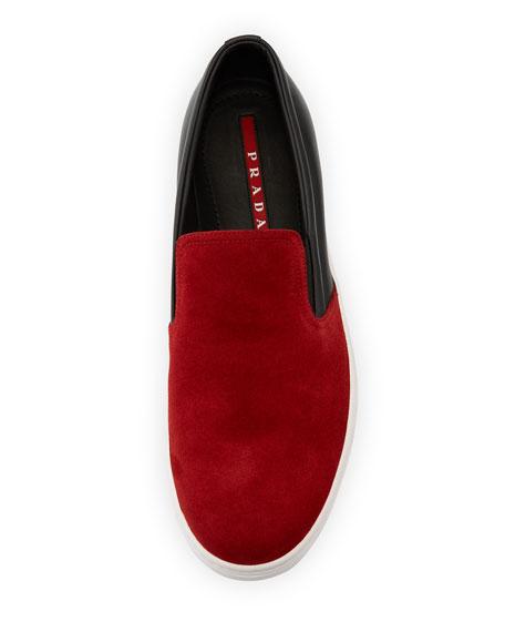 3b42110bac02c Prada Men s Contrast Suede-Top Slip-On Sneakers