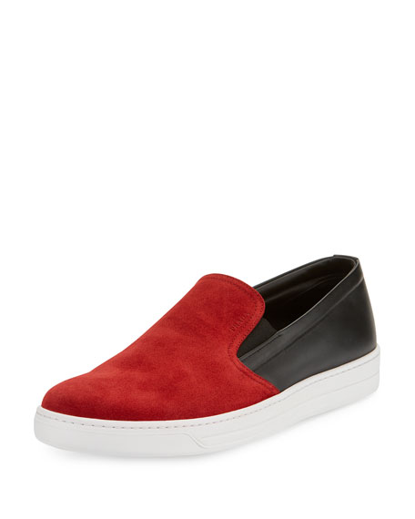 Contrast Suede-Top Slip-On Sneaker, Black/Red