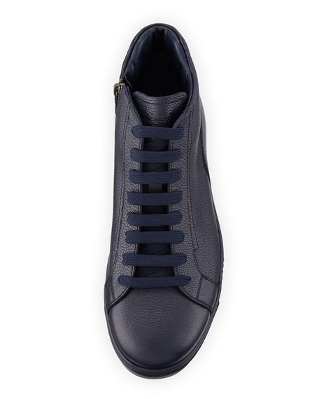 Men's Leather Zip-Side High-Top Sneakers, Blue