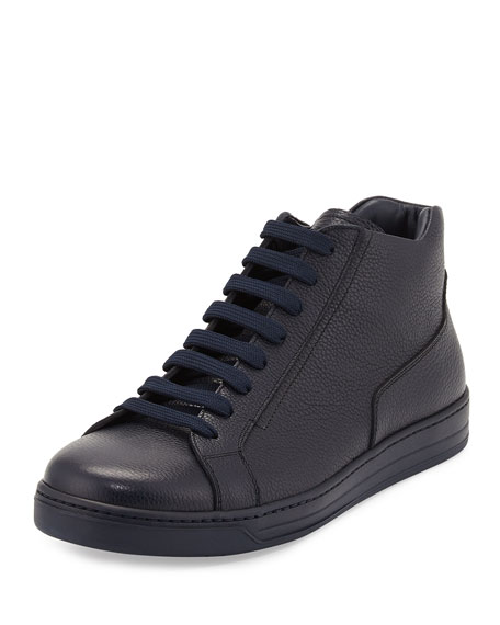 Prada Leather Zip-Side High-Top Sneaker, Blue