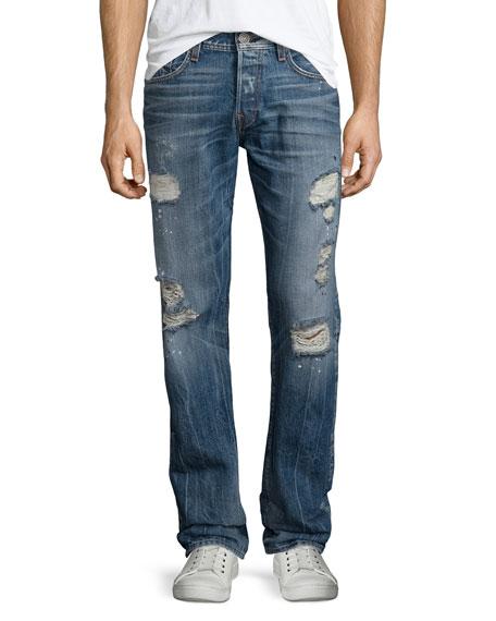 True ReligionGeno Distressed Straight-Leg Jeans, Blue Misfit