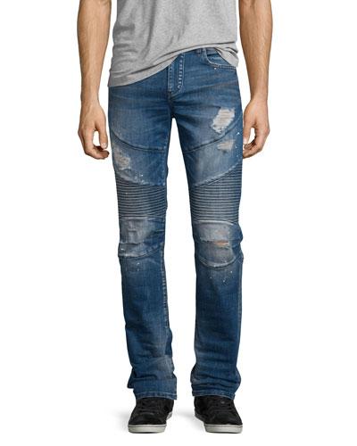 Rocco Distressed Moto Denim Jeans, Blue Misfit