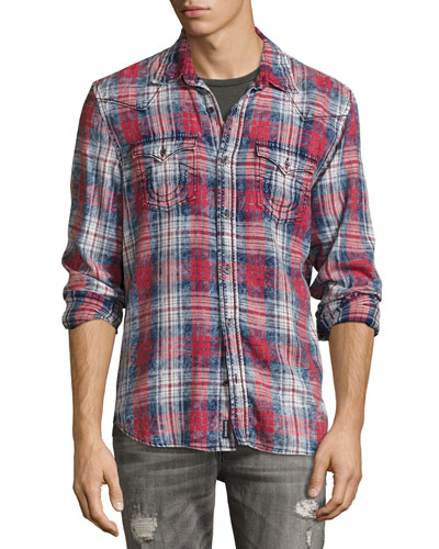 Plaid Western Shirt, Graffiti Red Plaid