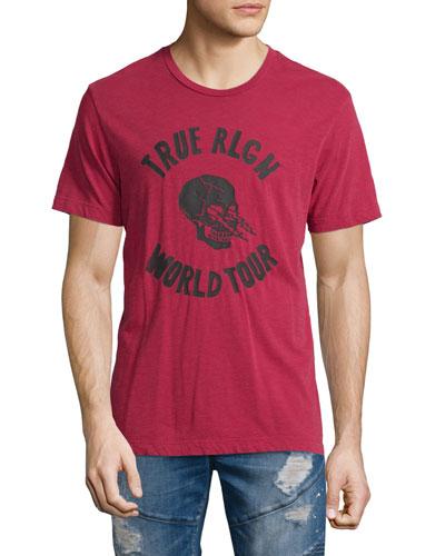 World Tour Skull Graphic T-Shirt, True Red