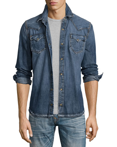 Ryan Western-Style Denim Shirt, Lone Streets