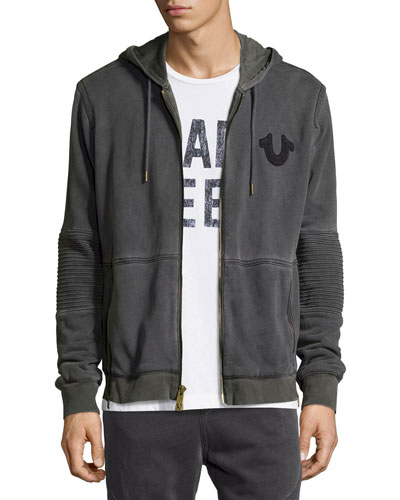 Faded Moto Hoodie, Dark Gray
