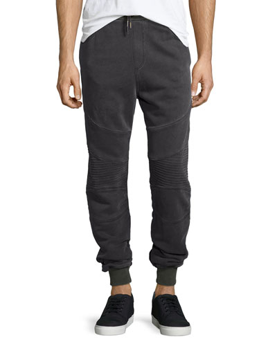 Faded Moto Sweatpants, Dark Gray