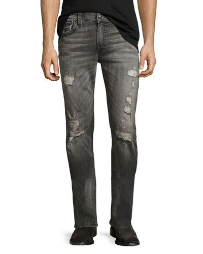Geno Distressed Flap-Pocket Jeans, Gray Misfit