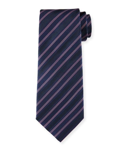 Armani Collezioni Striped Silk Tie, Navy