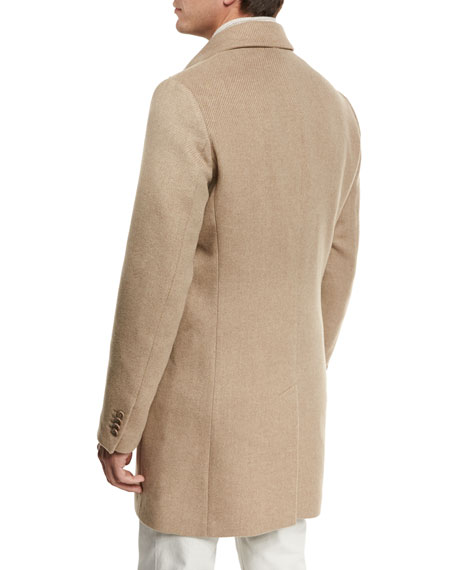 Dweller Wool-Cashmere Single-Breasted Coat, Desert Rose Melange/Gray Ice