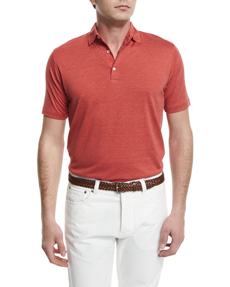 Isaia Short-Sleeve Silk-Blend Polo Shirt, Red