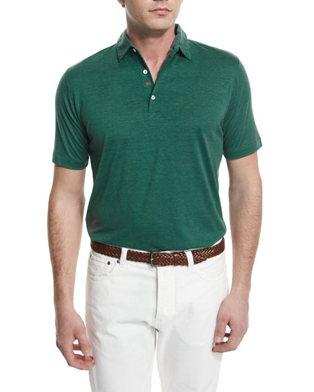 Isaia Short-Sleeve Silk-Blend Polo Shirt, Green