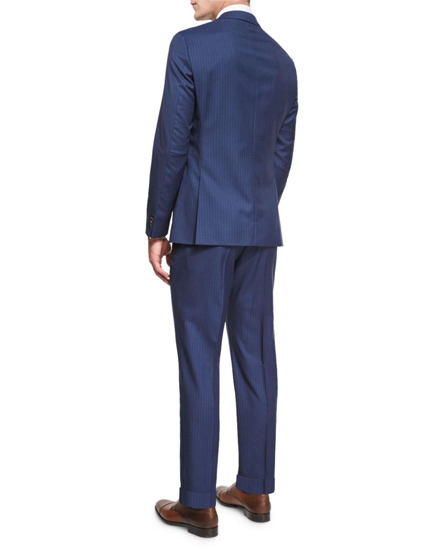 9cd305e48 BOSS Johnstons Lennon Striped Slim-Fit Basic Suit, Blue | Neiman Marcus