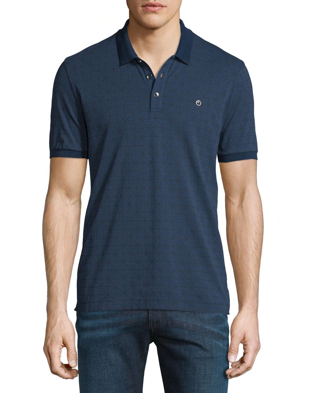 acc19191 Armani Collezioni Diamond-Grid Print Short-Sleeve Polo Shirt, Navy ...