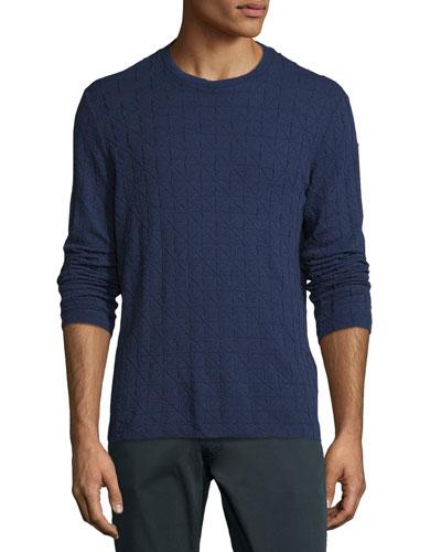 Textured Diamond-Jacquard Crewneck Sweater, Blue