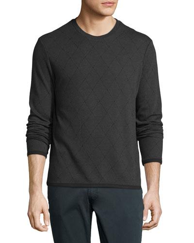 Diamond-Weave Long-Sleeve Crewneck Sweater, Gray
