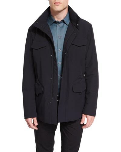 Snap-Front Field Jacket, Black