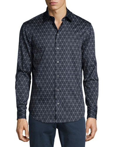 Triangle Line-Print Long-Sleeve Sport Shirt, Navy