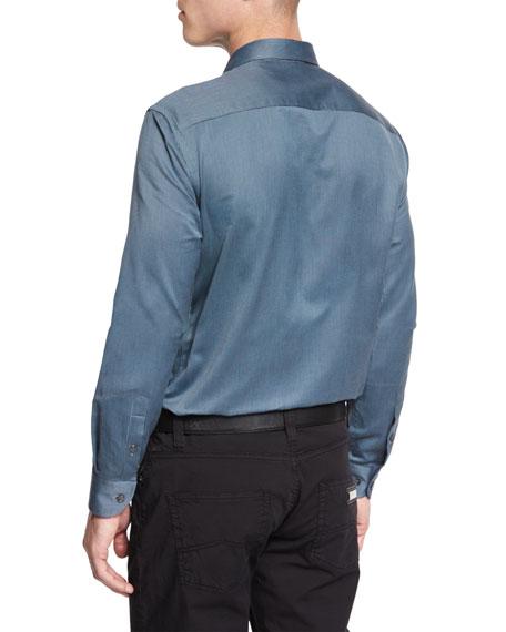 Mini-Gingham Sport Shirt, Green