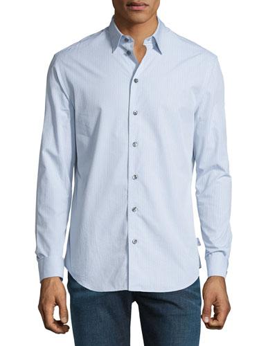 Mini Grid-Print Long-Sleeve Sport Shirt, Gray